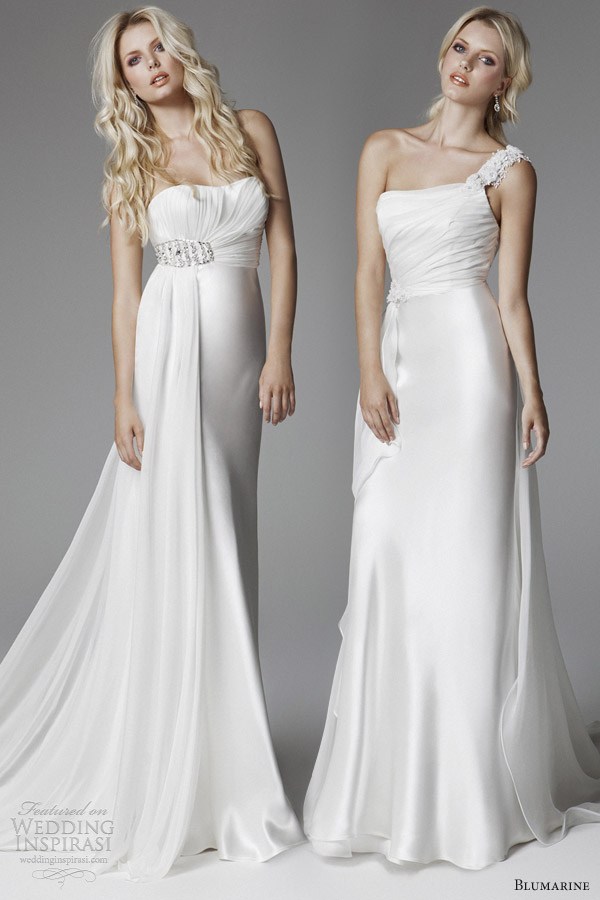 blumarine 2013 bridal grecian goddess wedding dress draped bodice