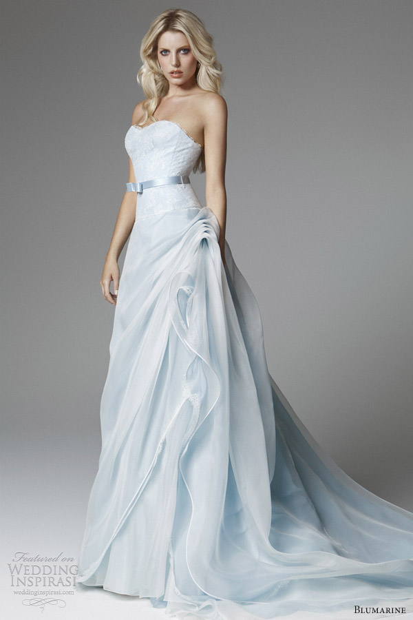 Blumarine 2017 Bridal Light Blue Wedding Dress Strapless Skirt