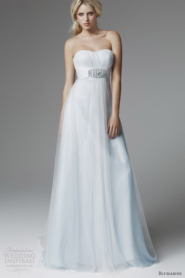 blumarine 2013 bridal strapless pale blue wedding dress