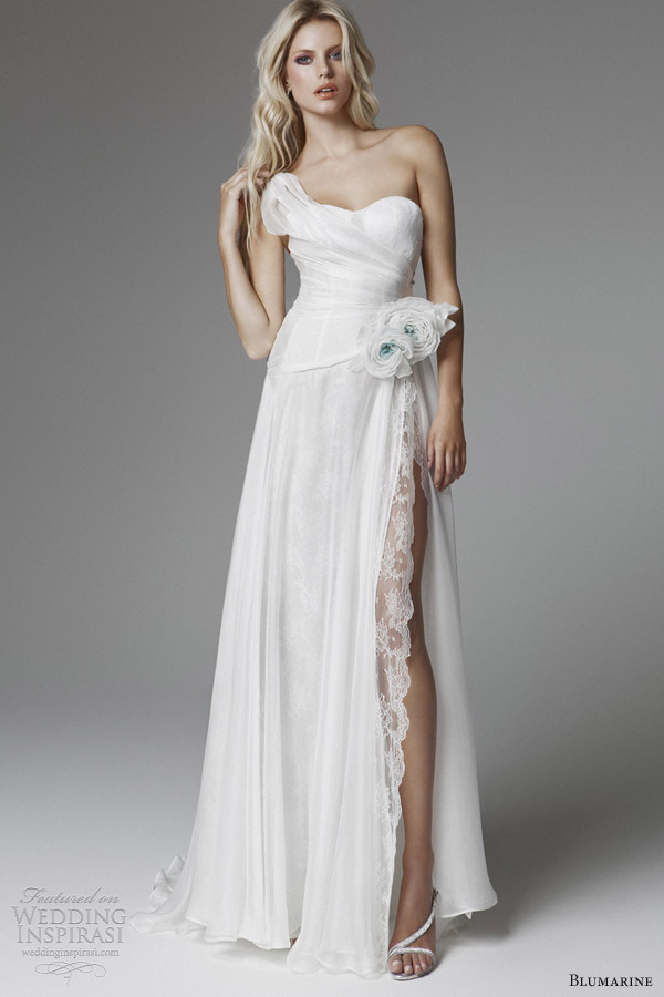 blumarine 2013 wedding dresses with high slit one shoulder