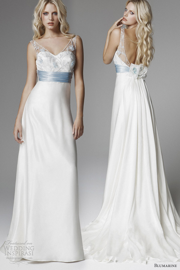 blumarine bridal 2013 sleevless illusion straps light blue wedding dress