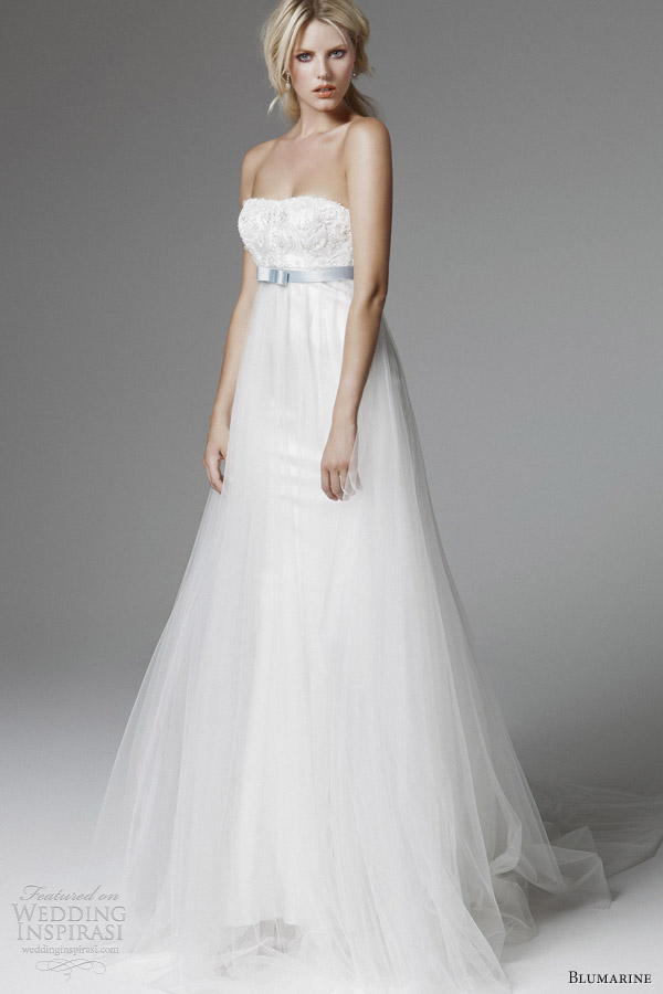 blumarine bridal 2013 strapless empire waist blue sash