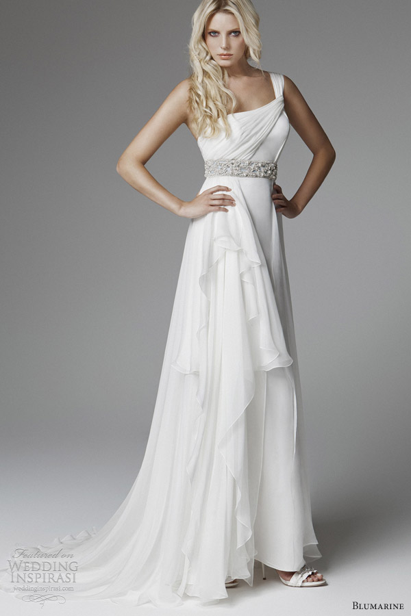 blumarine wedding 2013 one shoulder drape grecian wedding dress