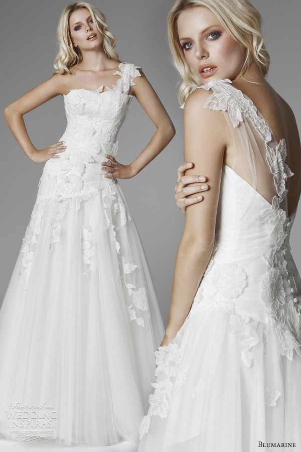blumarine wedding dress 2013 one shoulder drop waist gown