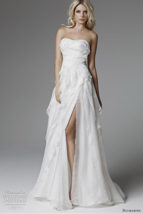 blumarine wedding dresses 2013 strapless gown thigh high slit