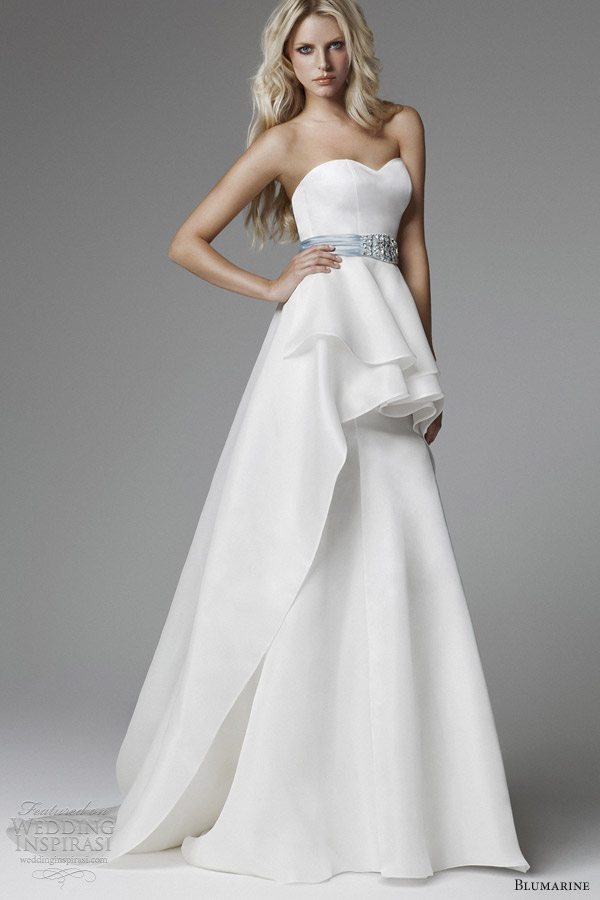 blumarine wedding dresses 2013 strapless sweetheart peplum gown