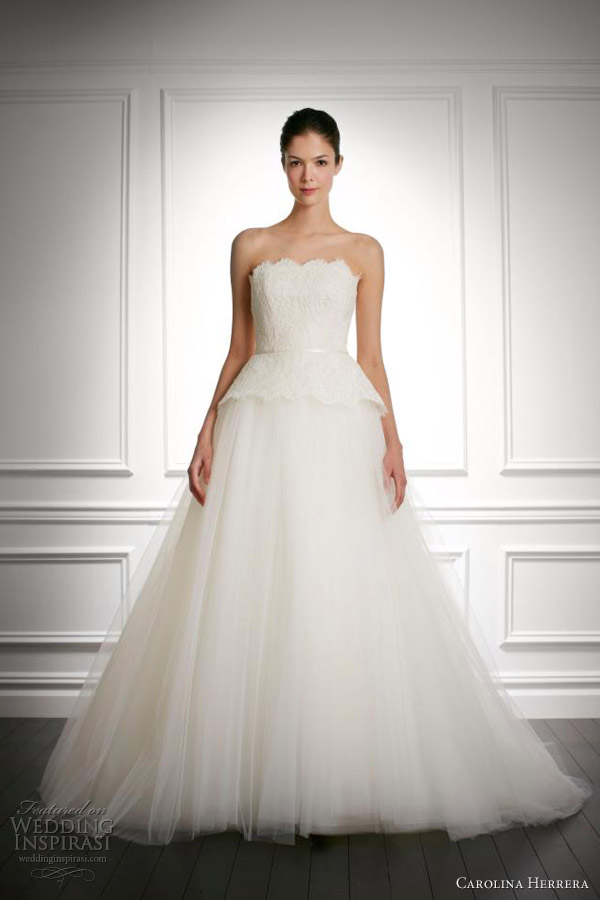 carolina herrera bridal fall 2013 justine strapless wedding dress