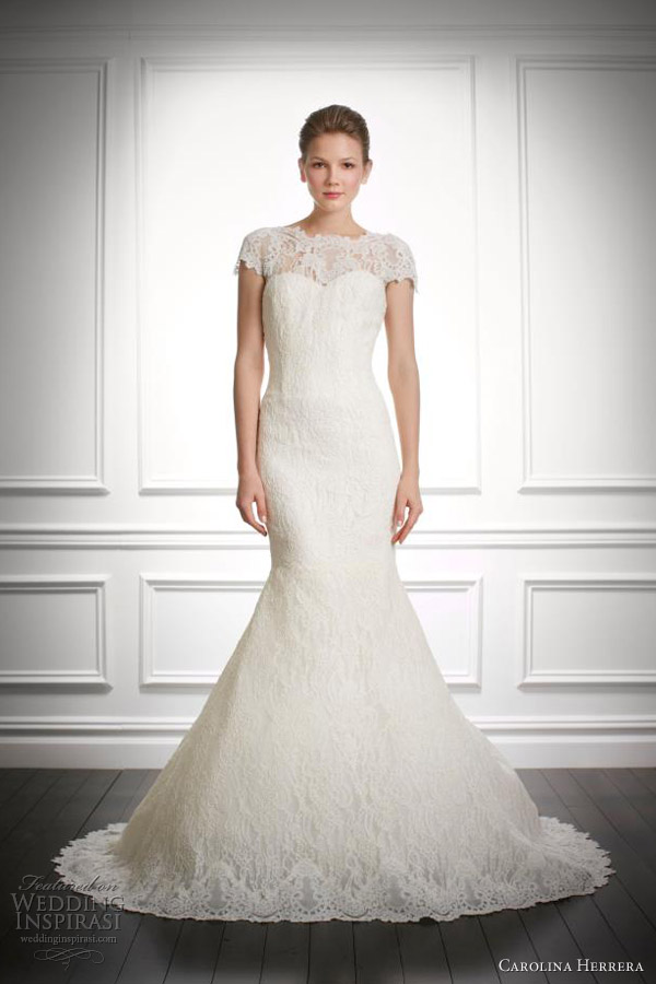 carolina herrera fall 2013 bridal jenny wedding dress with short sleeves