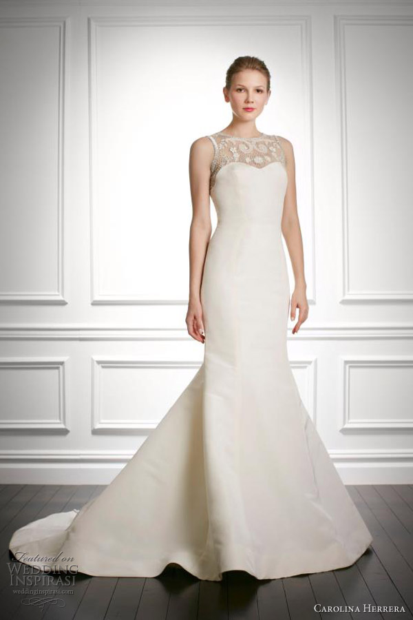 carolina herrera fall 2013 bridal juliet sleeveless wedding dress