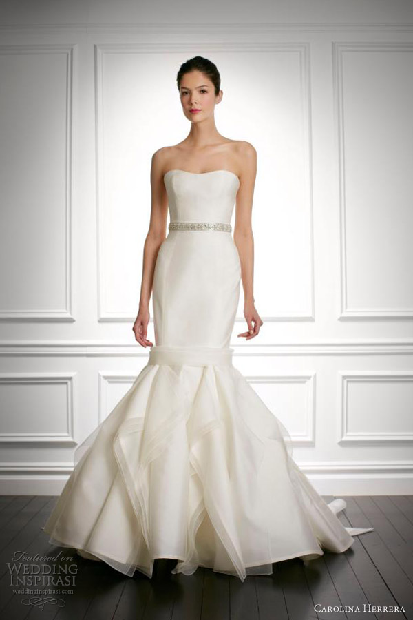 carolina herrera wedding dresses fall 2013 bridal jiselle strapless mermaid gown