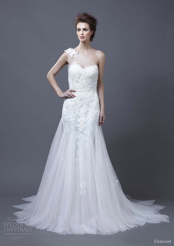 enzoani wedding dress 2013 heli one shoulder gown godet