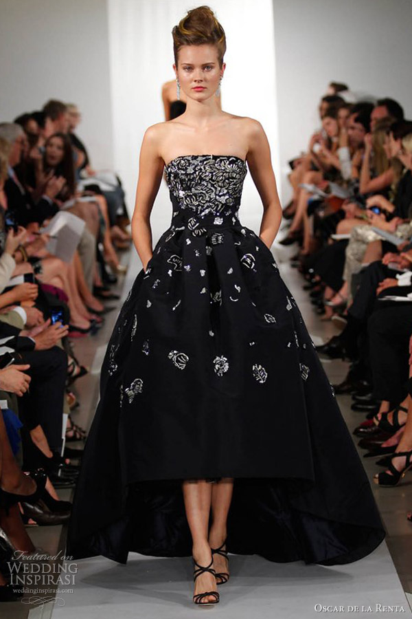 oscar de la renta spring 2013 ready to wear strapless ball gown high low hemline