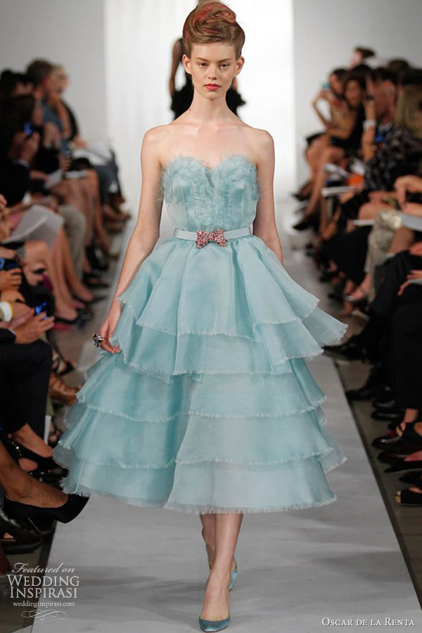 oscar de la renta spring summer 2013 ready to wear powder blue dress tiered skirt
