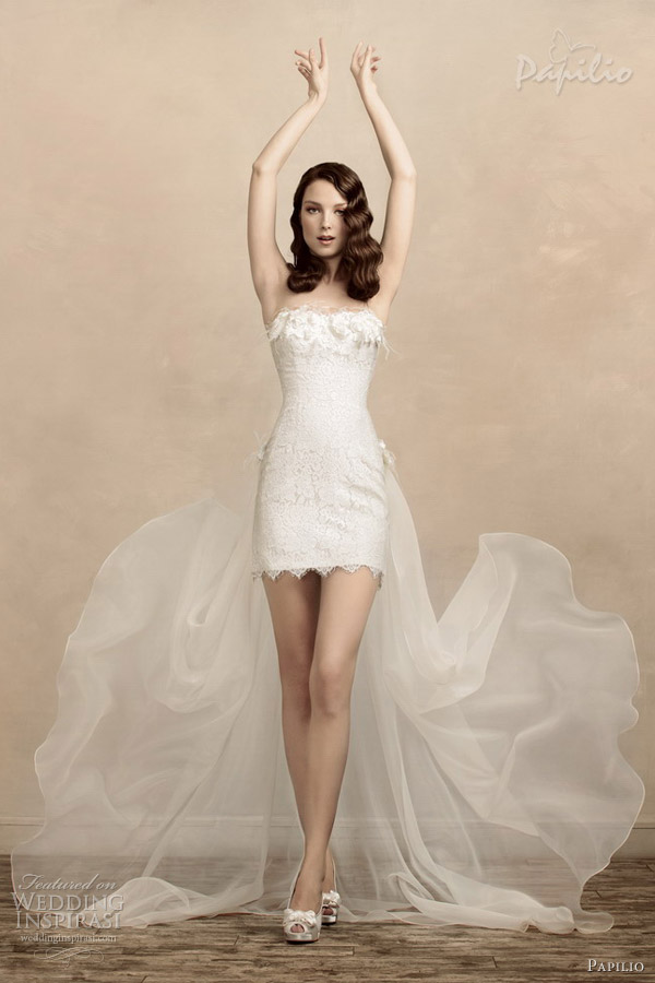 papilio short wedding dresses 2013 odrie train