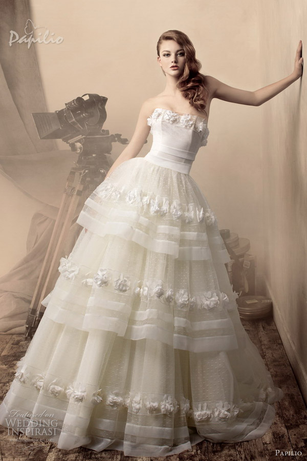 papilio wedding dresses 2013 ornella strapless ball gown