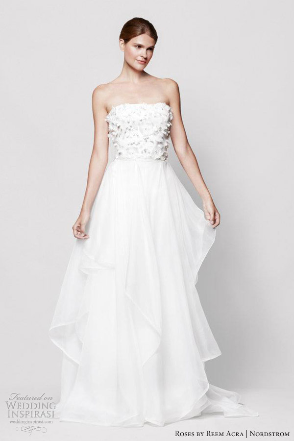 reem acra roses wedding dress nordstrom marigold strapless gown