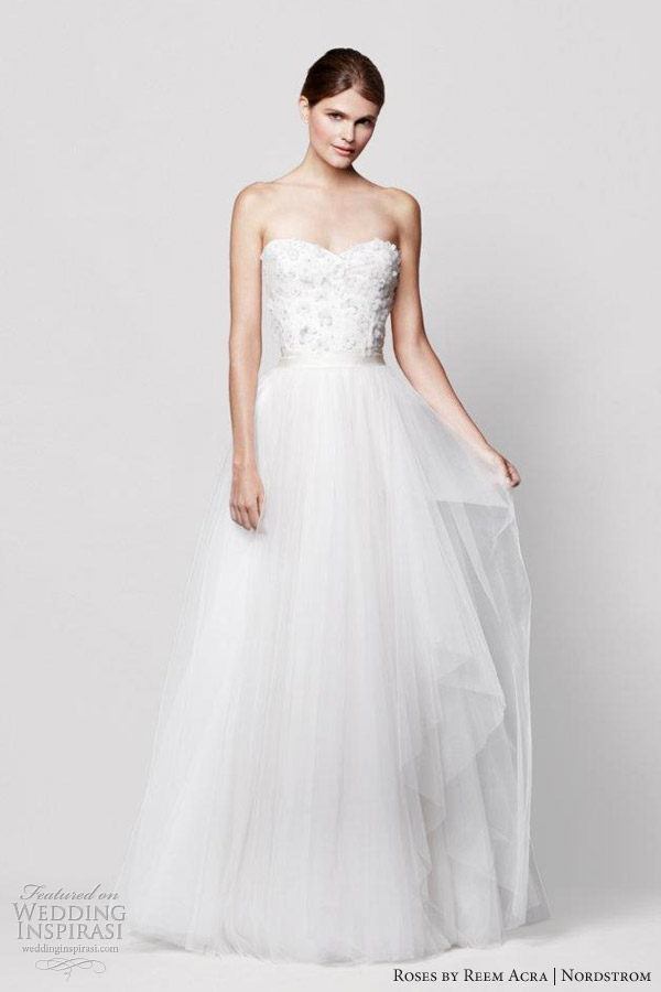 reem acra wedding dresses nordstrom coral bells strapless sweetheart weddings