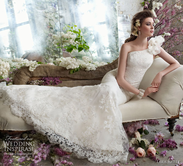 tara keely bridal fall 2012 alencon lace one shoulder trumpet gown floral sweep train organza petals 2250