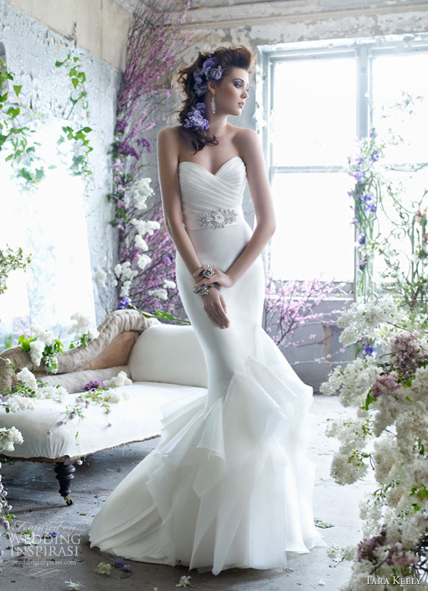tara keely fall 2012 bridal mikado organza trumpet gown pleated beaded belt natural waist ruffle skirt sweep train 2259