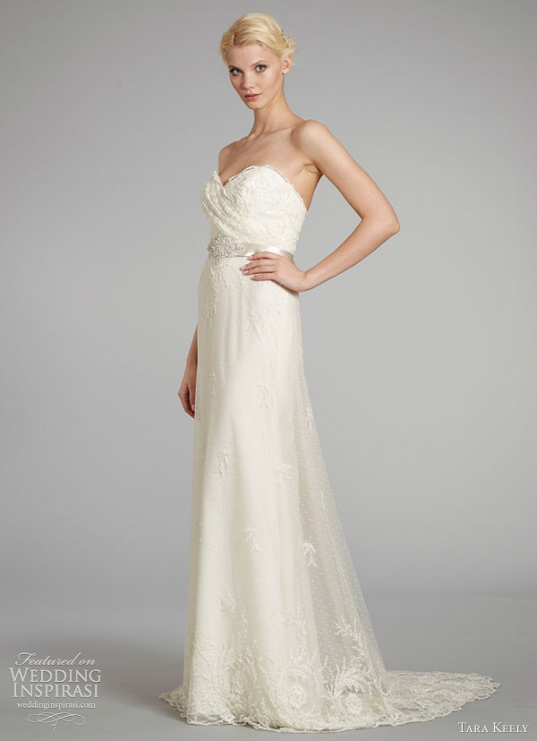 tara keely wedding dresses fall 2012 sheath gown beaded embroidered net pleated beaded belt 2256
