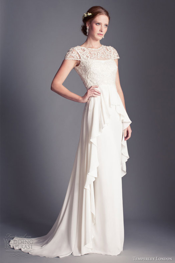 temperley london 2013 bridal bluebell wedding dress peplum cap sleeves