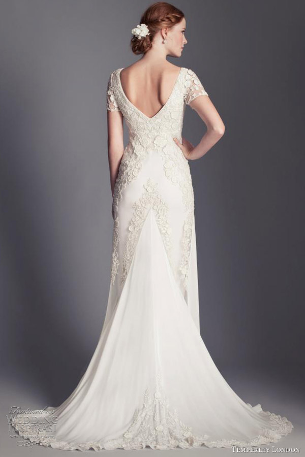 temperley london bridal 2013 daisy v neck short sleeve wedding dress back