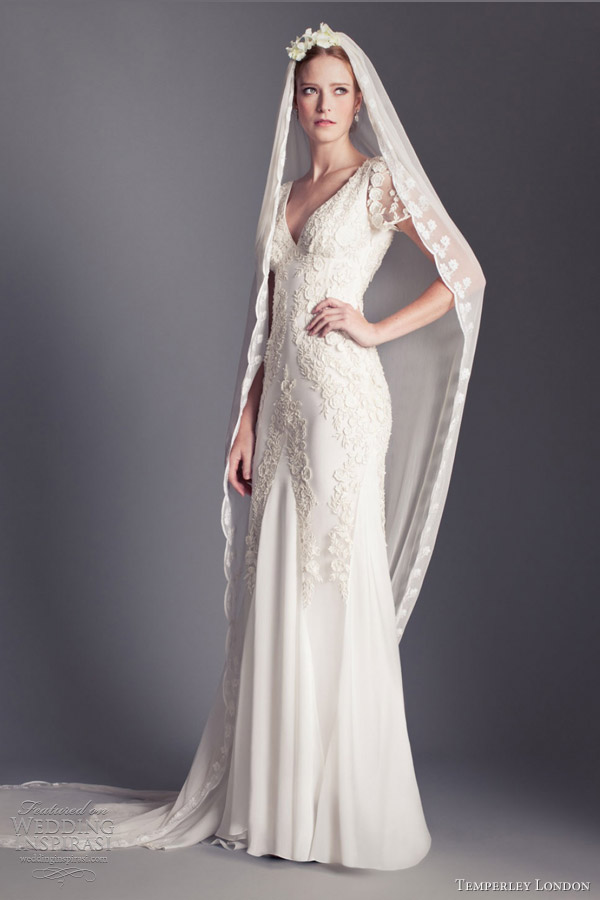 temperley london bridal 2013 daisy v neck short sleeve wedding dress