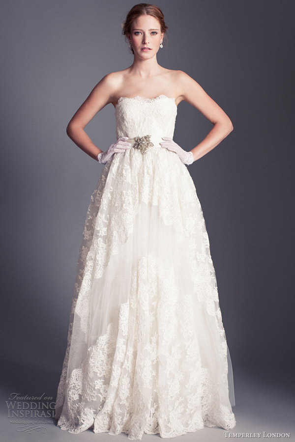 temperley london wedding dresses 2013 bridal clematis strapless lace gown