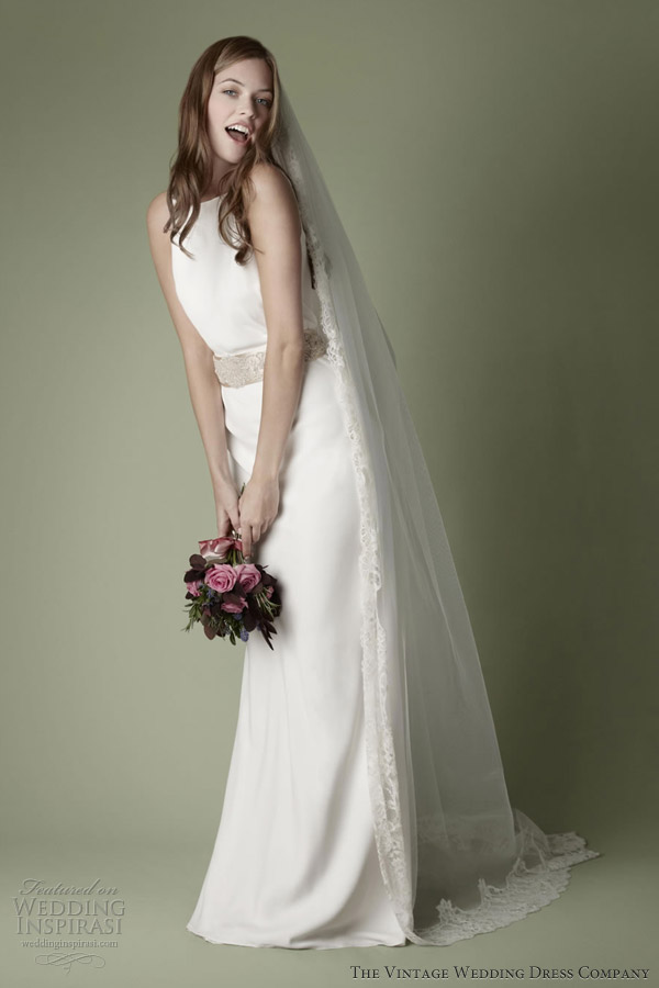 the vintage wedding dress company 2013 decades bridal collection 1960s sleeveless gown