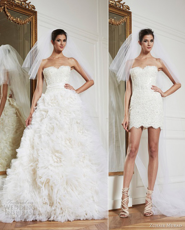 zuhair murad bridal fall 2013 starina convertible short mini wedding dress ball gown