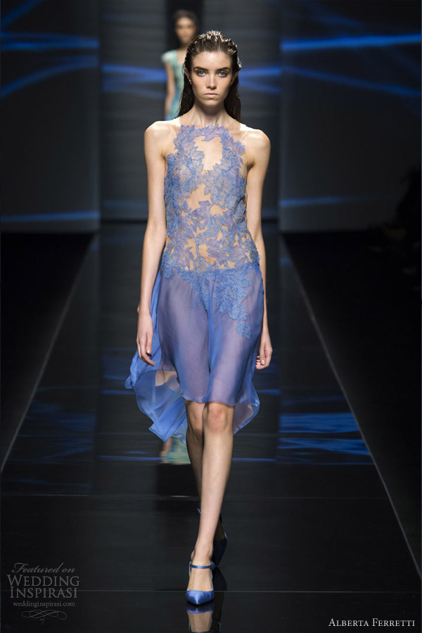 alberta ferretti spring 2013 rtw blue short dress