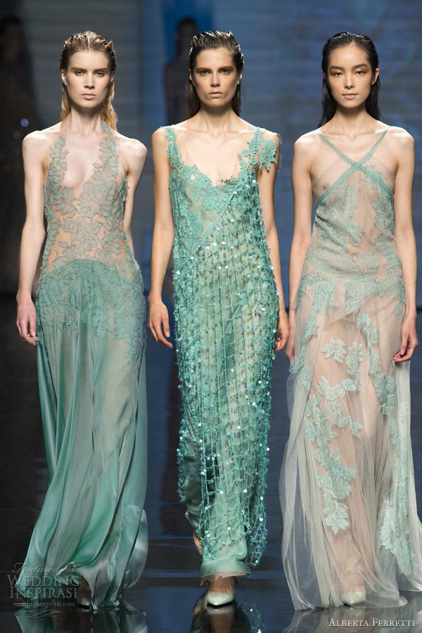 alberta ferretti spring 2013 rtw green turquoise dresses