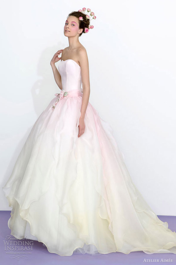 Atelier Aimee 2017 Strapless Ombre Pink Ivory Wedding Dress