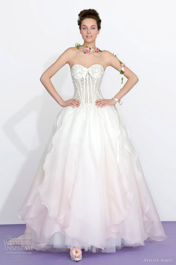 atelier aimee bridal 2013 pink ombre color wedding dress