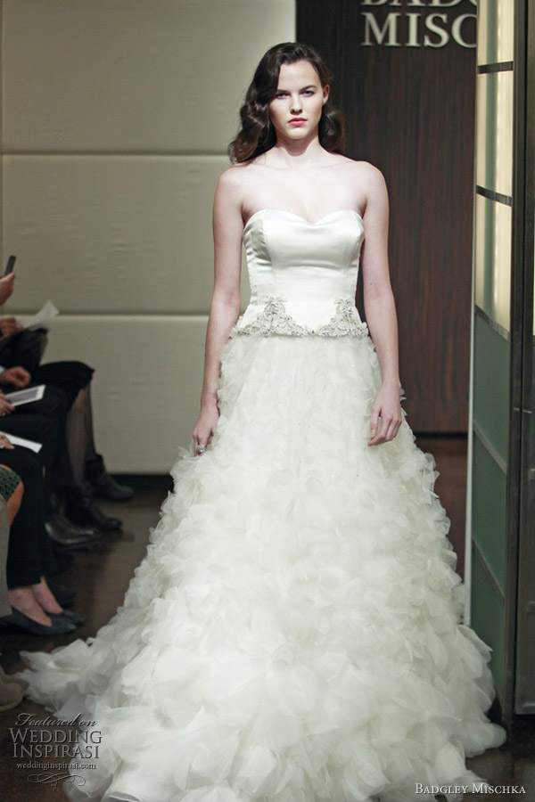 badgley mischka bridal fall 2013 eclipse wedding dress floral organza skirt