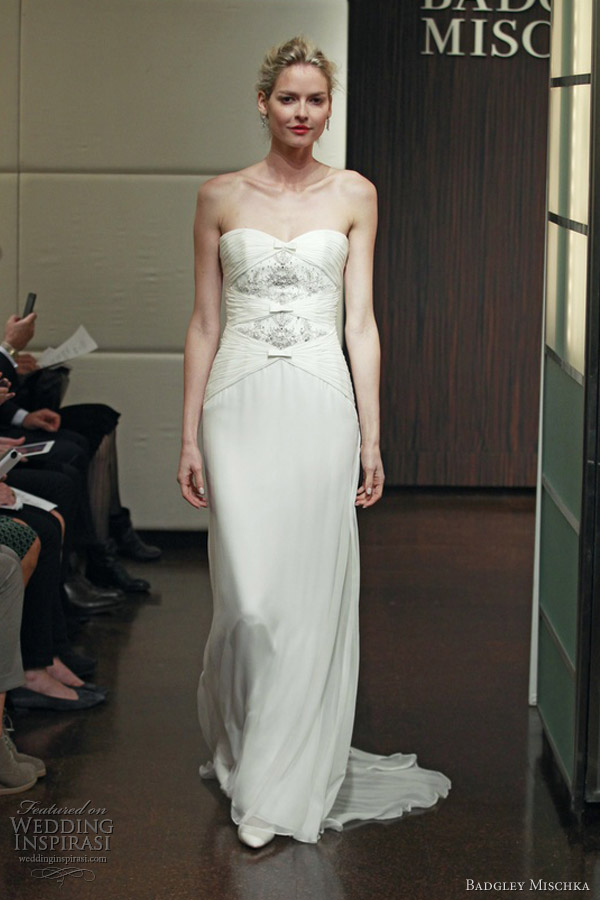 badgley mischka bridal fall 2013 mercury strapless wedding dress