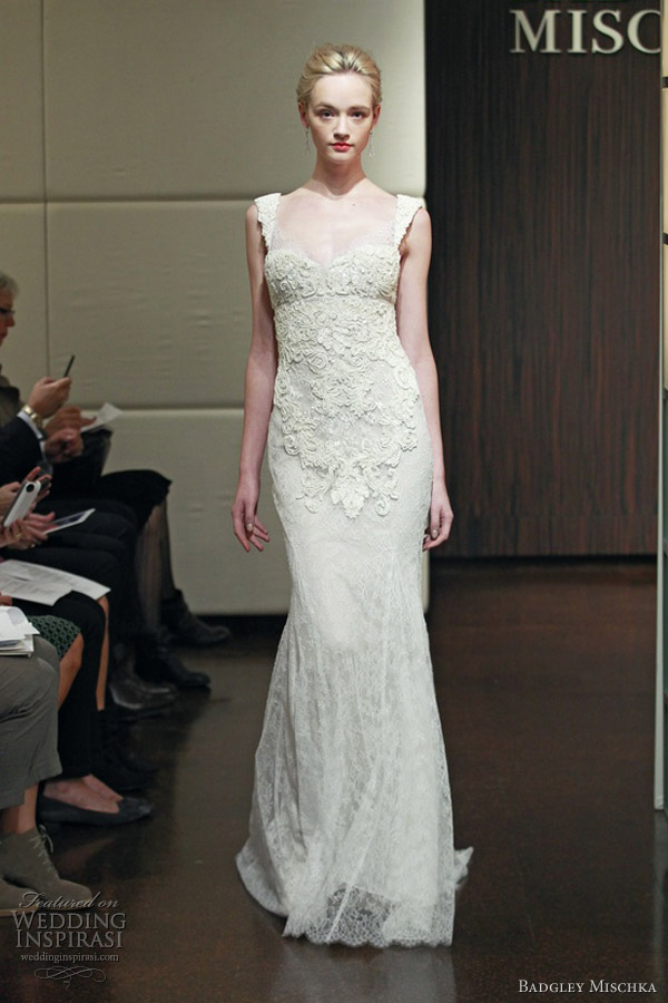 badgley mischka fall 2013 aquarius sleeveless sheath wedding dress lace straps