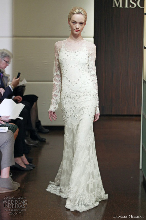 badgley mischka fall 2013 bridal heavenly long sleeve wedding dress