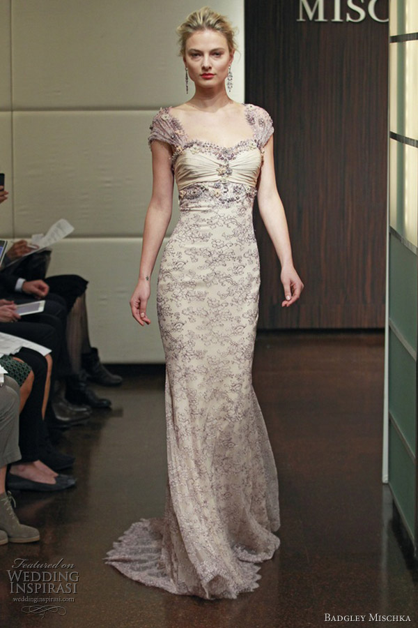 badgley mischka wedding dresses fall 2013 blush lace cap sleeve gown cressida