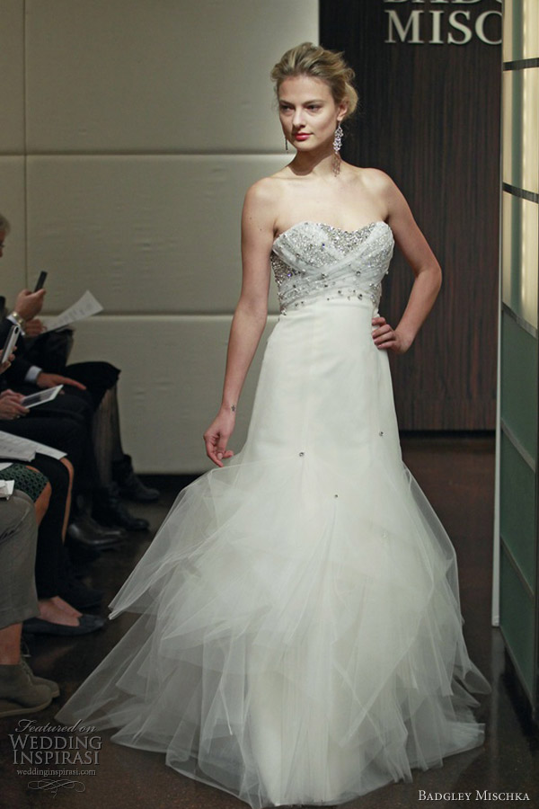 badgley mischka wedding dresses fall 2013 constellation strapless embellished bodice gown tulle skirt