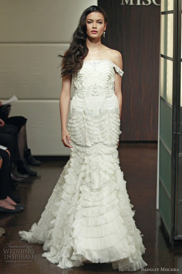 badgley mischka wedding dresses fall 2013 embellished ruffle tiers mermaid gown off shoulder straps neptune