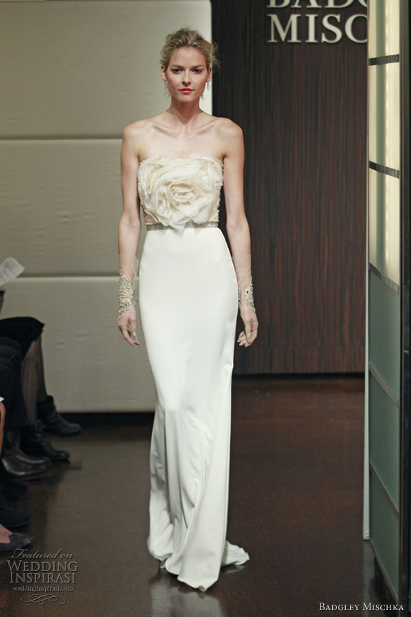 badgley mischka wedding dresses fall 2013 omega strapless rose bodice column gown