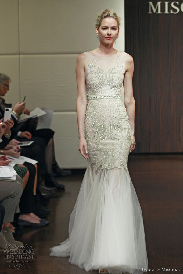 badgley mischka wedding dresses fall 2013 sleeveless embellished mermaid gown pisces