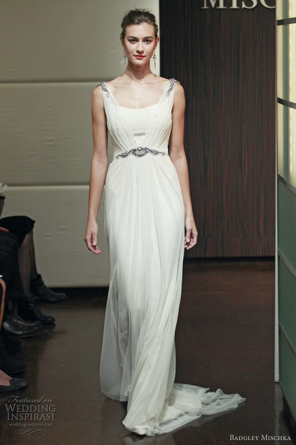 badgley mischka wedding dresses fall 2013 virgo sleeveless embellished straps