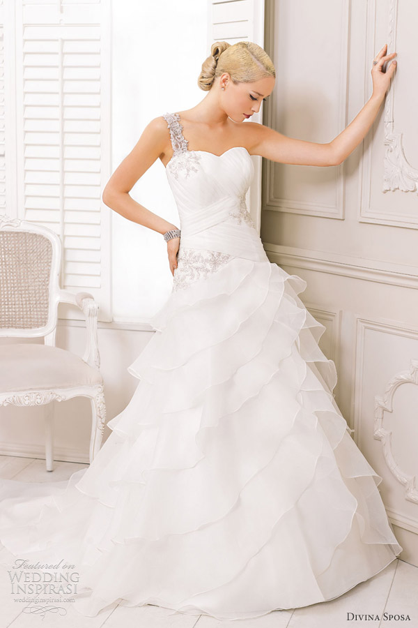 divina sposa bridal 2013 one shoulder gown sweetheart neckline