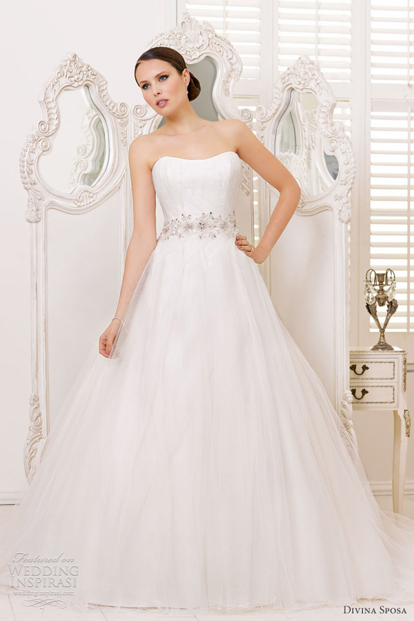 divina sposa bridal 2013 strapless a line wedding dress