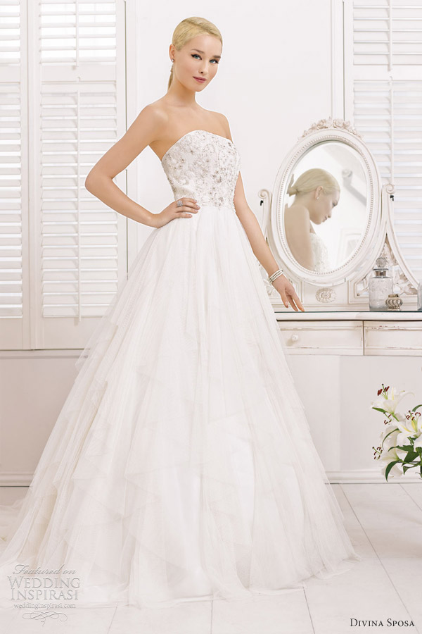 divina sposa bridal 2013 strapless a line wedding gown