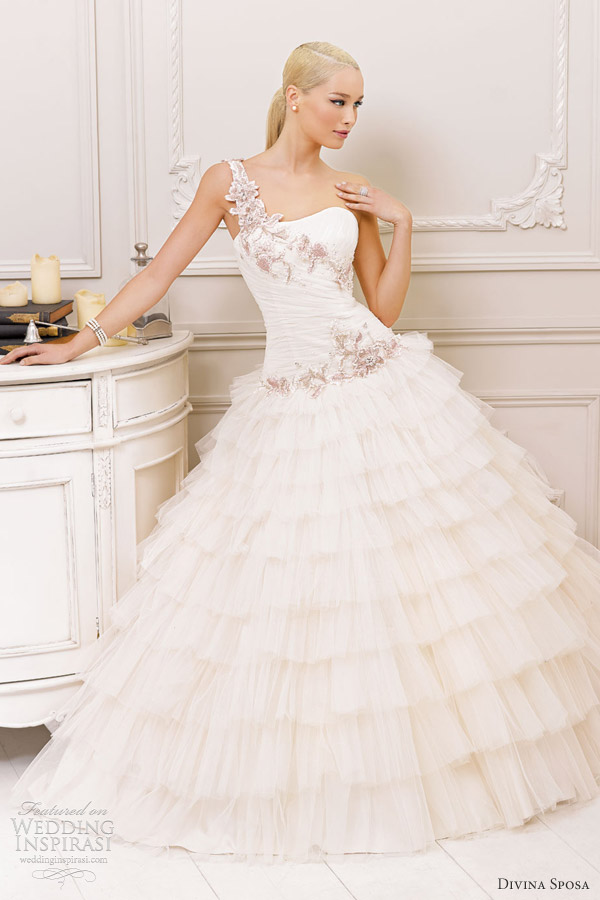 divina sposa wedding dresses 2013 bridal one shoulder ruffle gown