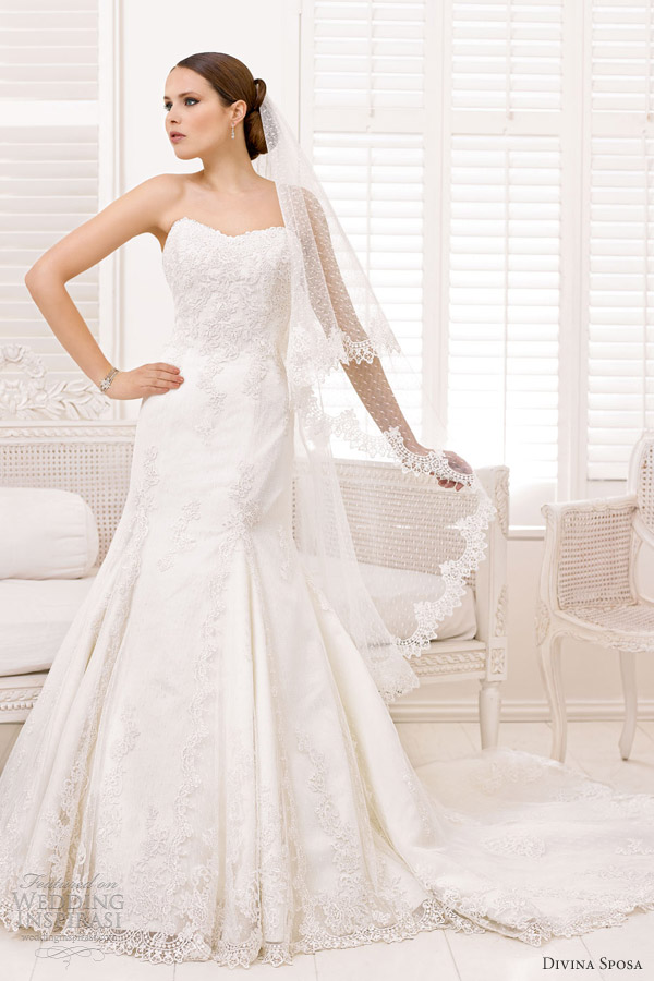 divina sposa wedding dresses 2013 bridal strapless lace gown