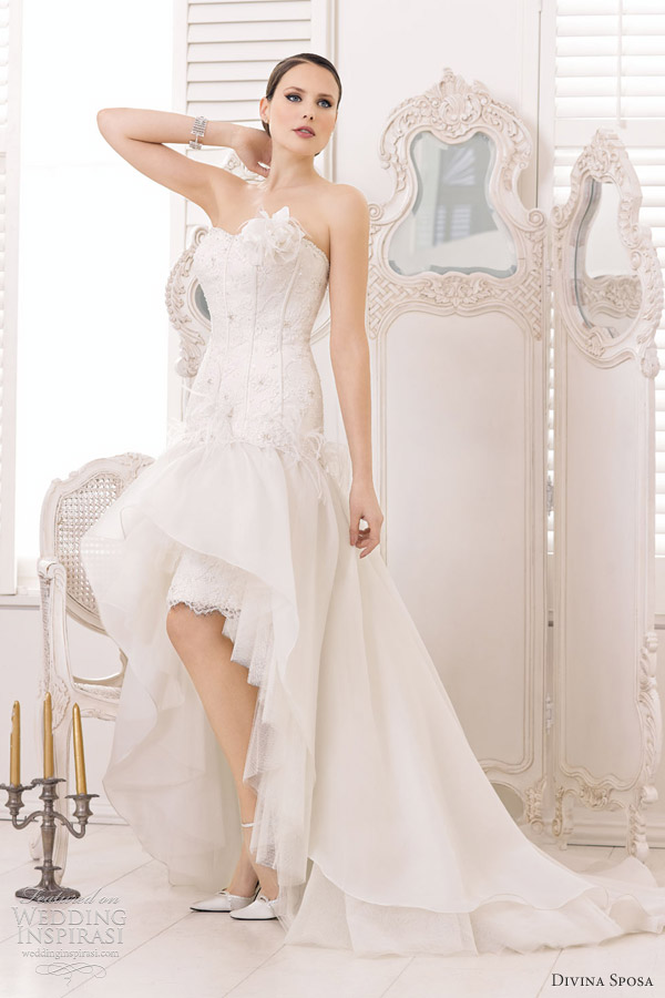 divina sposa wedding gowns 2013 strapless wedding dress high low skirt